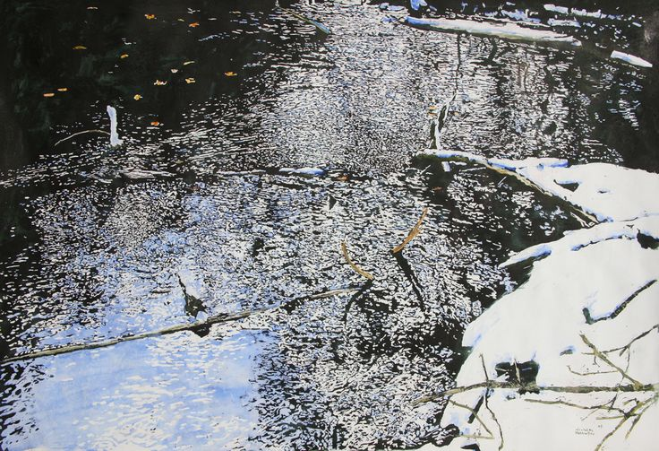 """open cedar stream 21  32"""" x 50""""  micheal zarowsky watercolour on arches paper / available $4500.00"""