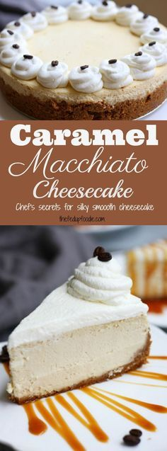 Homemade Caramel Macchiato Cheesecake recipe gives easy chef's secrets to the perfectly smooth cheesecake and how to prevent cracks while baking. This classic cheesecake is a favorite at parties all throughout the year! #cheesecake https://www.thefedupfoodie.com/caramel-macchiato-cheesecake/