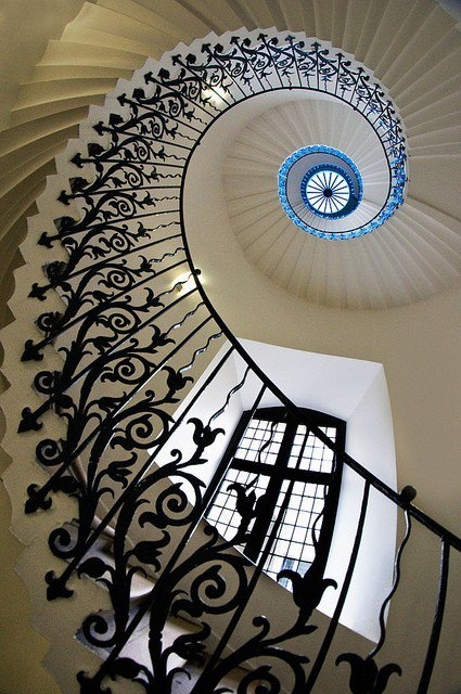 """Fibonacci spiral - The stairway has not changed size - it only appears to do so as it gets further away. The optical illusion  does this in the perfect proportion of Phi, the """"Golden Ratio"""".  Artists have always know this - it is how they convey 3 dimensional perspective on a 2 dimensional canvas."""