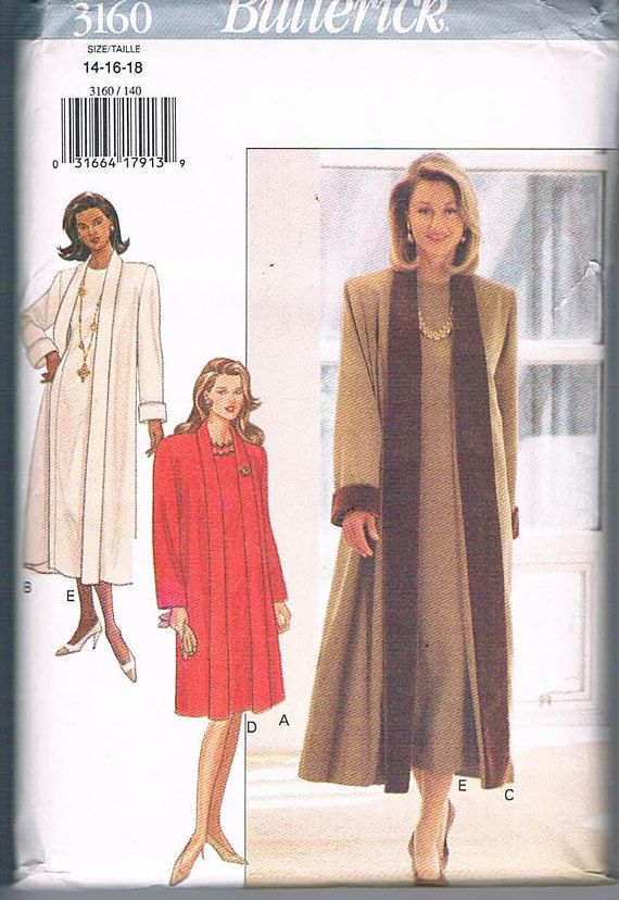 Butterick 3160 Misses/Misses Loose Fitting A-Line Coat and