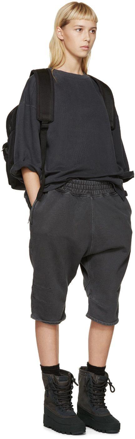YEEZY Season 1 Grey Cropped-Sleeve Pullover
