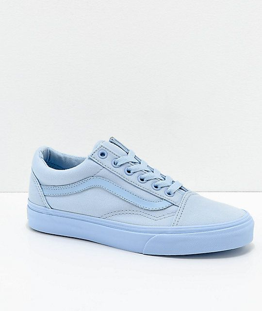 Vans Old Skool Mono Sky Blue Skate Shoes by Vans.Available Colors LIGHT PASTEL  BLUE.Available Sizes Choose an Option... 1d5bd7ea4