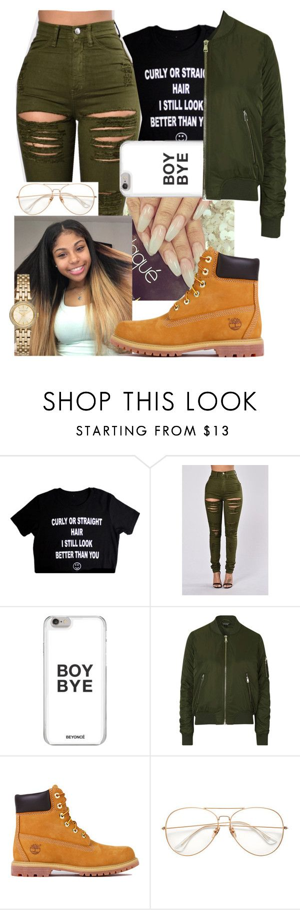 """@liddlenique"" by fashionismypashion476589 ❤ liked on Polyvore featuring Topshop, Timberland and Michael Kors"