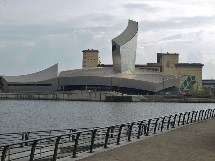 The Imperial War Museum North, on Trafford Wharf Road, Salford Quays, Manchester, England, designed by architect Daniel Libeskind (1946).