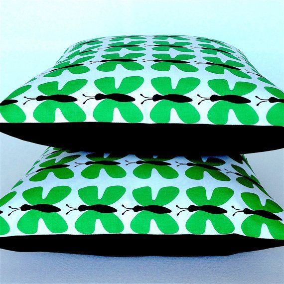 Scandinavian Butterfly Pillow Cover. Green and Black by OnHighat5
