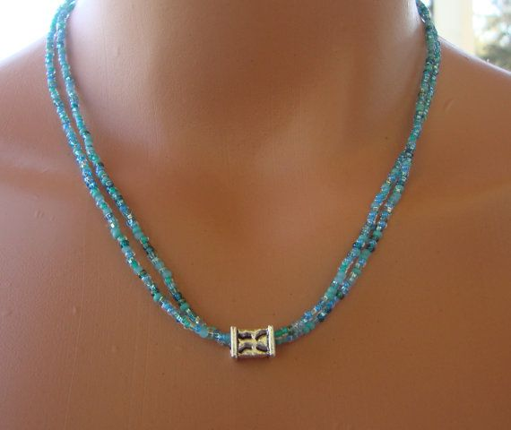 Dainty aqua seed bead necklace simple seed bead by TamDavisDesigns, $14.00