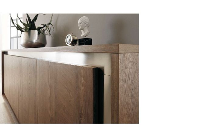 Buffet bois et inox 4 portes contemporain MICHIGAN