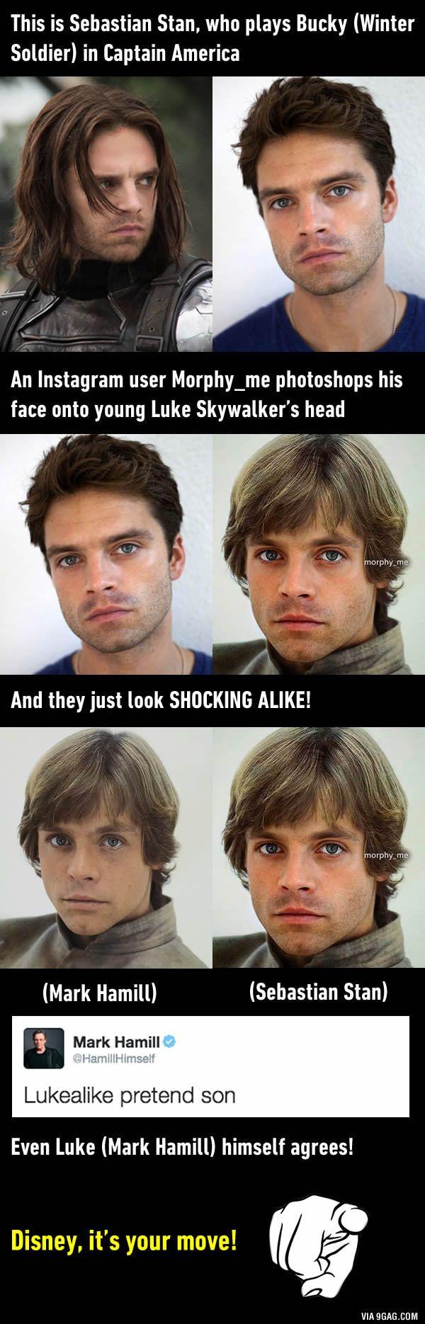 Sebastian Stan looks just like a young Luke Skywalker
