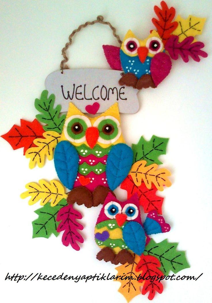 FELT IN LOVE: Keçe Baykus ve Yaprak Figürlü Kapı Süsü