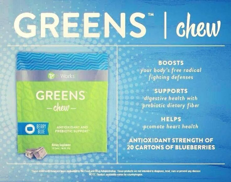 It Works Global Greens chew! Prebiotic! System booster!  Yummy like a starburst candy!  www.nomorechub.com