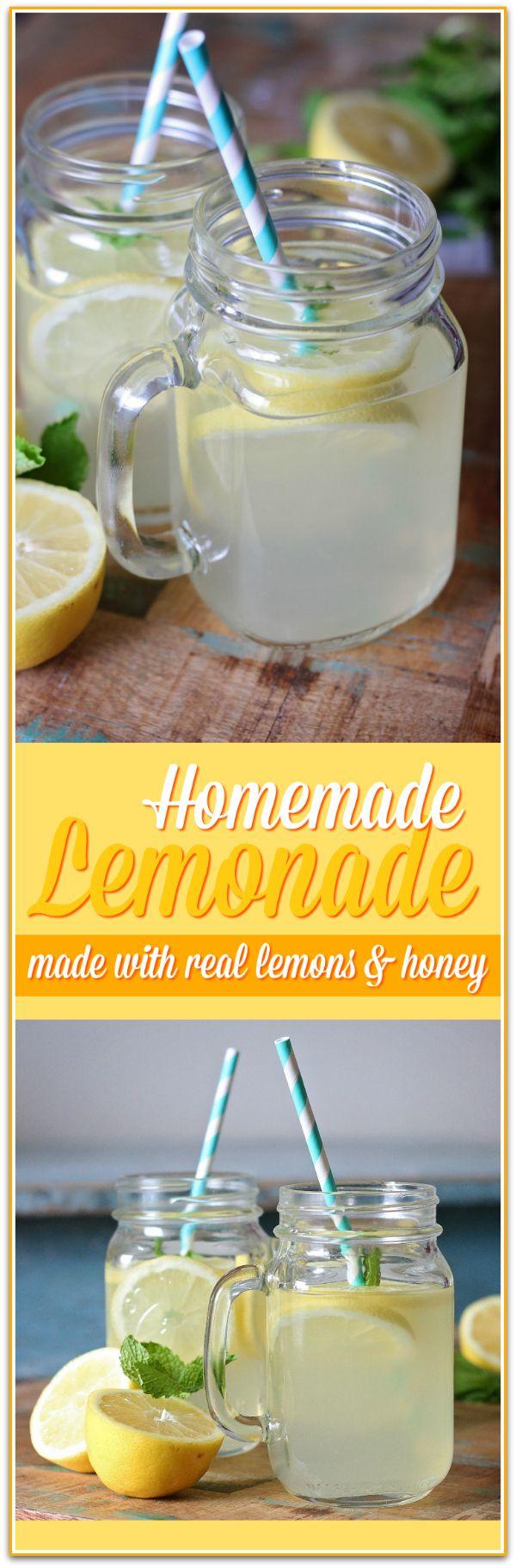 This is the best homemade lemonade recipe using real lemons and honey - so simple & refreshing!