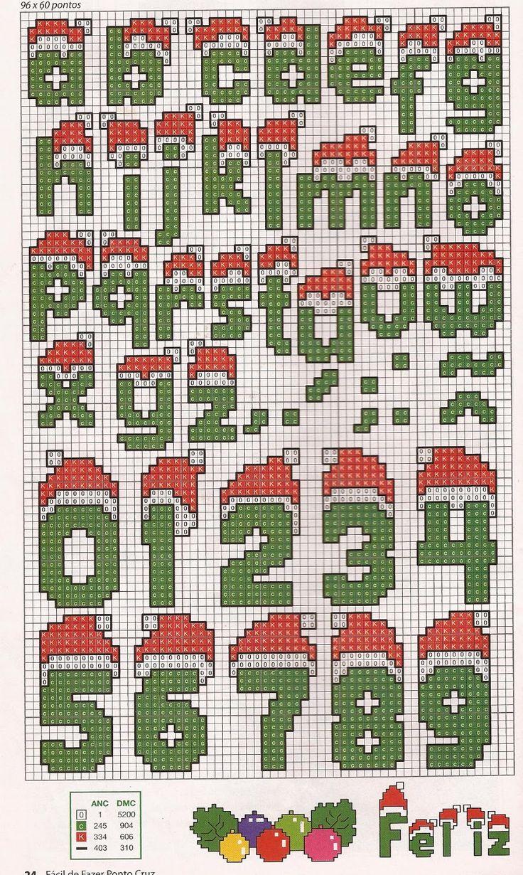 Arte em ponto cruz e crochê: Oiê como estamos em clima natalino vai aí uma letrinhas natalinas procês bordarem e fazer aquele sucesso...Um xero!