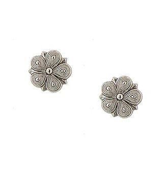 1928® Jewelry Vintage Silvertone Star Flower Stud Earrings