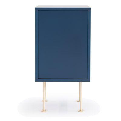 Vogue nattbord fra Decotique. Et moderne og flott nattbord i skandinavisk design. Svart, blått og hvitt