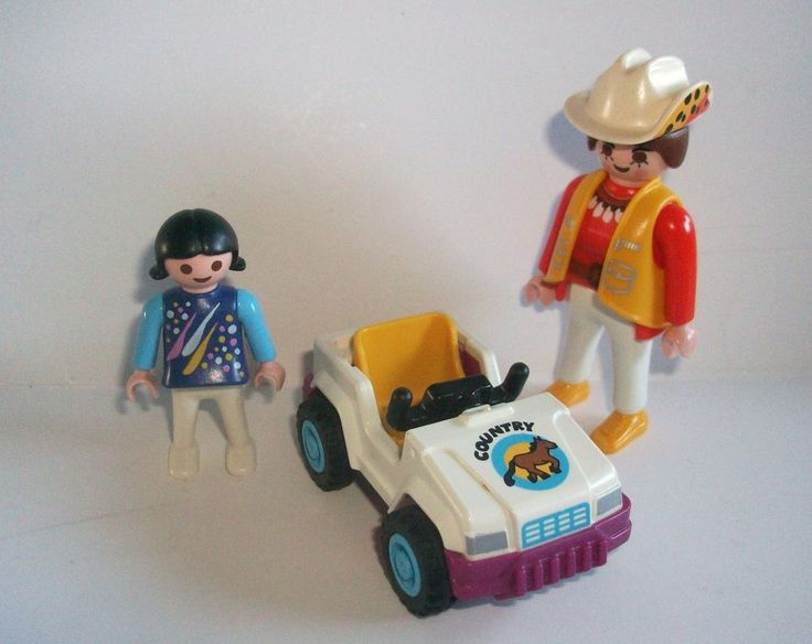 PLAYMOBIL LADY with LITTLE GIRL and TOY CAR - FIGURES/PEOPLE CITY. I find it funny how this person's car is missing the same original pieces that I don't have >.<