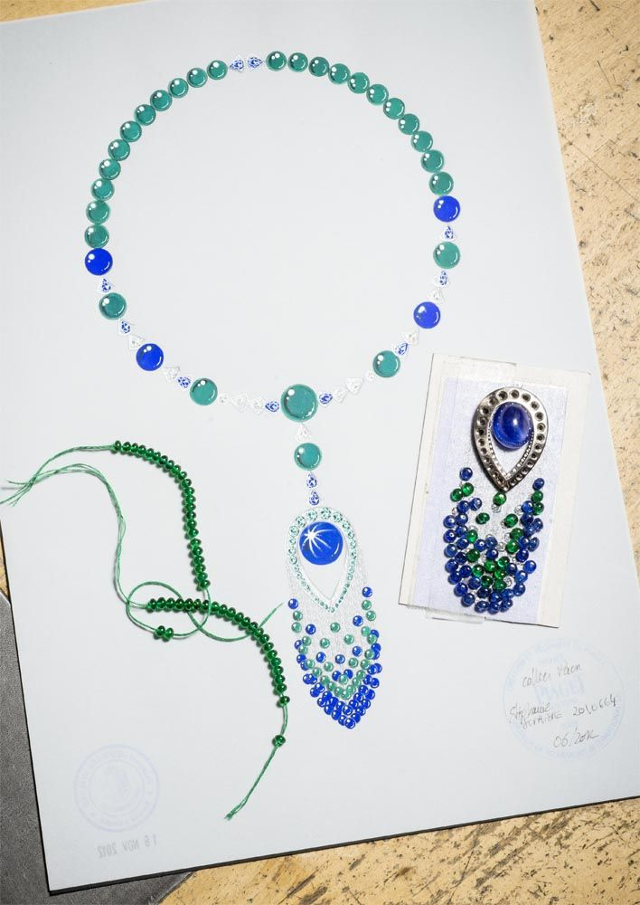 Necklace in 18K white gold set with 53 emerald beads, 44 blue sapphire beads , 1 cabochon-cut blue sapphire 10 pear-shaped blue sapphires, 9 pear-shaped diamonds, 24 round emeralds, 24 brilliant-cut diamonds and 4 round blue sapphires. #knowhow #Piaget #amythicaljourney #jewelry