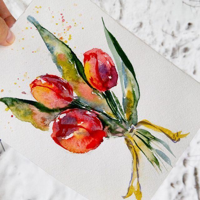 А завтра в ТРК Комсомол @kreativ.rulit проводит арт-фестиваль с кучей разных локаций, где можно будет попробовать разные техники рисования!  И я там буду порисуем цветочные открытки акварелью, такие как на фото...или другие)) .  .  #купилабабаакварель #калиграфика #тюльпаны #школакреатива #креатив_рулит #красноярск #крск24 #крск #яжвк #мастеркласс #рисование #творческий_красноярск #артфест #арт_терапия #подарок #8марта #женскийдень #watercolor #акварель #сейчас_рисую #top_watercolor #diy ...