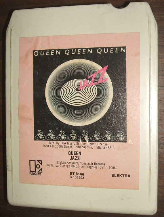 Queen Jazz Freddie Mercury 1978 Elektra Asylum Records 8 Track Stereo Tape Cartridge Rare Cover Tested Works.   This is an extremely rare cover with white cartridge shell and pink label sticker.  This classic Queen 8 Track Tape comes from the days of real music, when nearly every song on the album was a masterpiece, and Freddie Mercury fans will love it. Listed by ManHoard, $24.95 with free U.S. Shipping.
