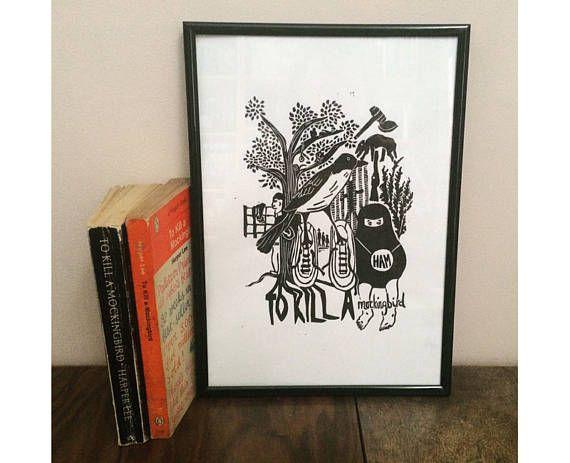 To Kill a Mockingbird Linocut Print  Harper Lee  Literary
