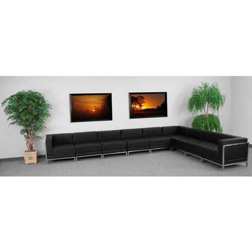 [+]  9pc Modern Leather Office Reception Sectional Sofa Set, FF-0433-12-S15