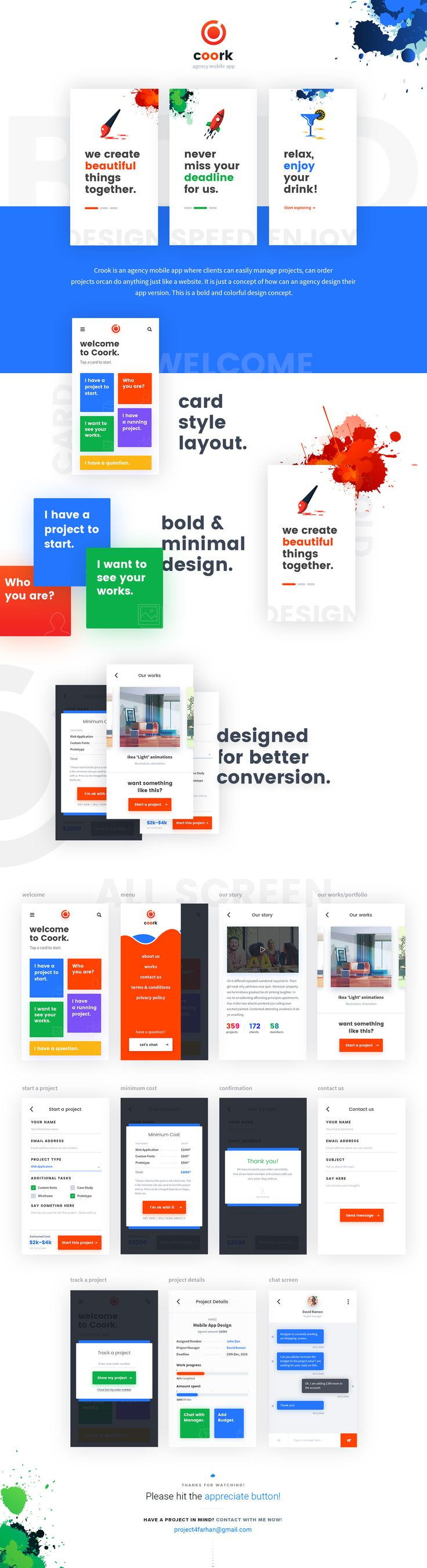 This a concept of Agency app design, who are selling their service and letting the client to manage the projects via mobile app.I have used some images from @jamesgilleard from his beautiful project.