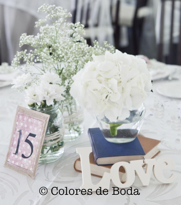 Centros de mesa vintage| Colores de Boda