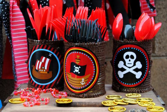 PIRATE PARTY BURSTS - Boys Birthday Party, Pirates of the Caribbean, Centerpieces - Krown Kreations on Etsy, $3.99