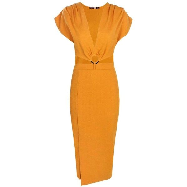 Boohoo Victoria Plunge Ring Detail Fitted Midi Dress ($15) ❤ liked on Polyvore featuring dresses, bodycon mini dress, bodycon maxi dress, bodycon midi dress, orange maxi dress and jersey maxi dress