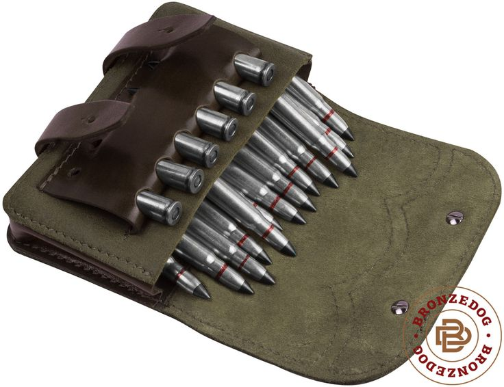 Leather Rifle Ammo Pouch Cartridge Holder 12 Gauge 308