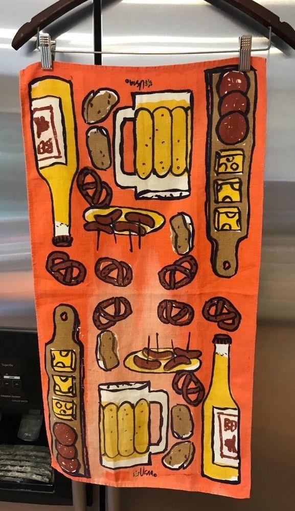 Vintage Beer and Pretzels Orange/Brown/Gold Vera Neumann Linen Kitchen Tea Towel