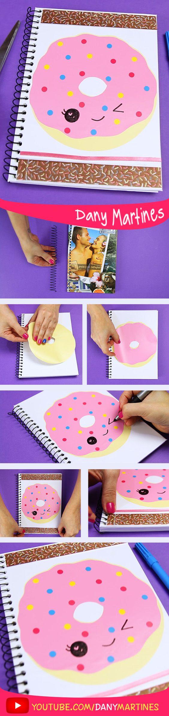 Faça você mesmo uma linda capa de caderno de donut fofinho, kawaii, cute, volta às aulas, DIY, do it yourself, Back to school, regreso a clases, Notebook