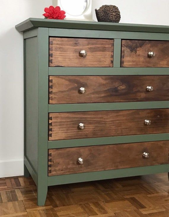 Rustic Green And Wood Chest Of Drawers Hand Painted Green And In