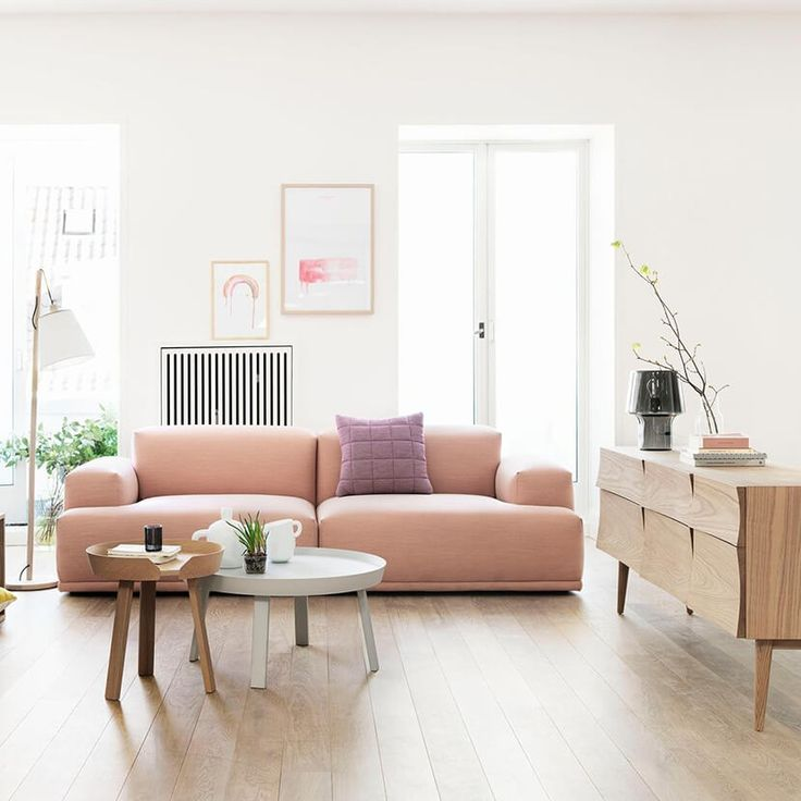 Light Filled Living Room With Pale Wood Floors, Pale Wood Sideboard, Pale  Pink Low Chunky Modern Sofa And White Walls   Airy And Uncluttered, ... Part 80