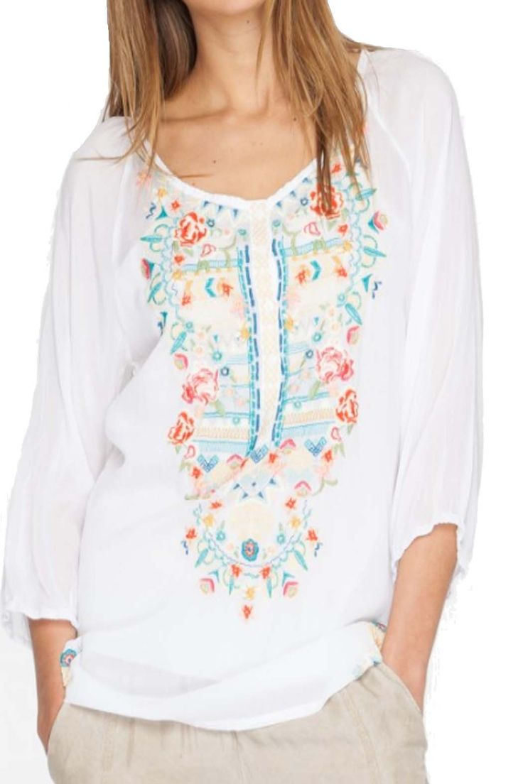 Johnny Was Women's Linnet Embroidered Blouse