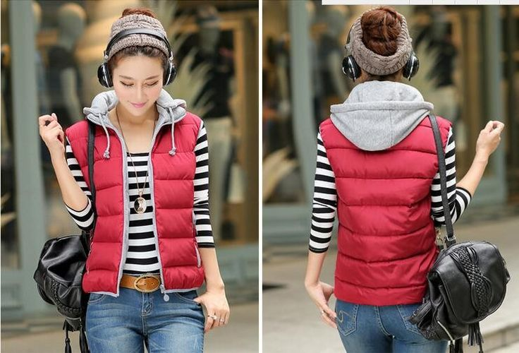 US $16.90 -- women cotton vest hooded down vest Removable Hat Good quality cotton-padded winter warm Sleeveless Jacket Coat Outerwear Thicken aliexpress.com