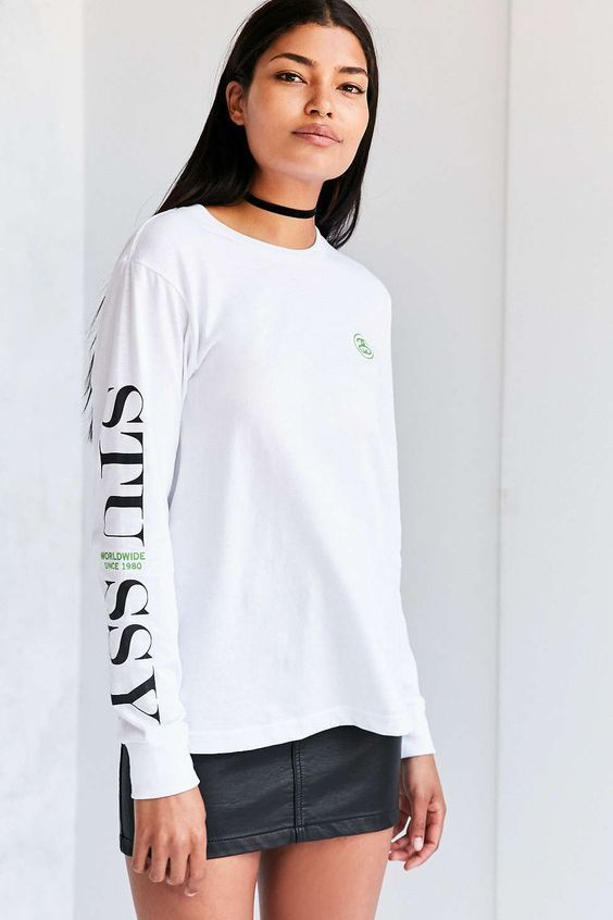 NEW URBAN OUTFITTERS STUSSY WORLDWIDE WOMEN'S LONG SLEEVE TEE T SHIRT MEDIUM #Stussy #GraphicTee