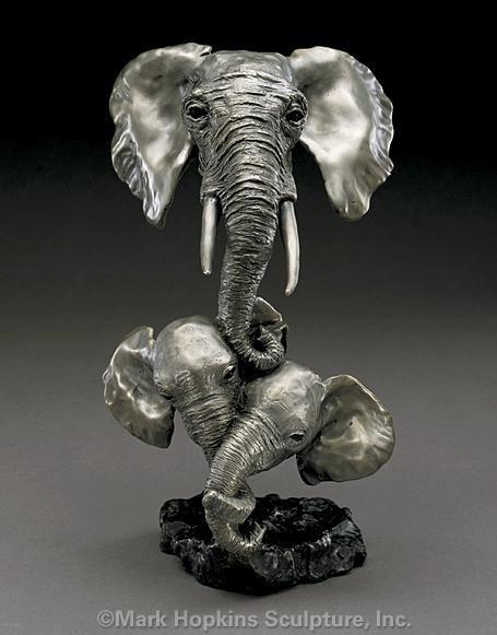 Mark Hopkins Sisters Elephant Bronze Sculpture