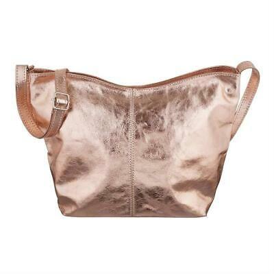 ITALy DAMEN LEDER TASCHE Umhängetasche Metallic Schultertasche Ledertasche Bag:… – Italyshop24.com