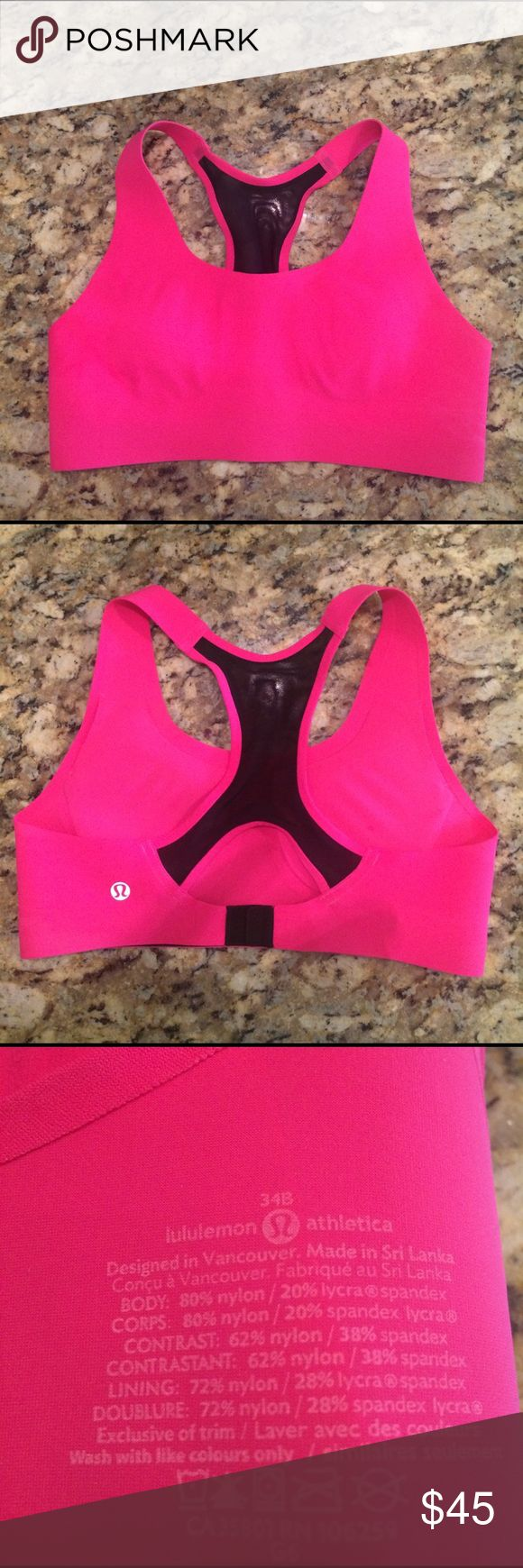Lululemon Athletica Sports Bra Lululemon Athletica sports bra. I ordered this bra online and it's too small. The size is 34b but is more like a 32-34A. lululemon athletica Intimates & Sleepwear Bras