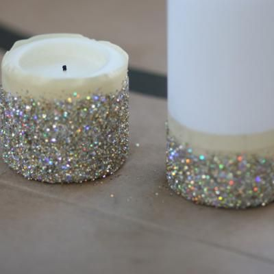 An idea to jazz up candles for a wedding or reception - could use any colors