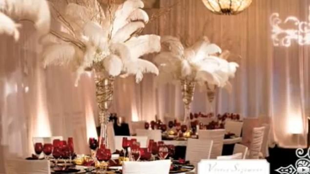 Playful/vivacious Bugsy Berkeley follies -ostrich feathers, cream and gold centerpieces - Google Search