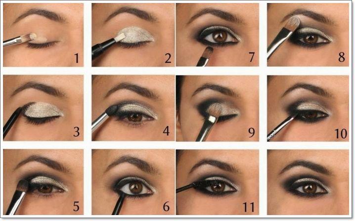 tuto maquillage yeux marrons, pinceau smudge, fard à paupières blanc, crayon eye liner noir