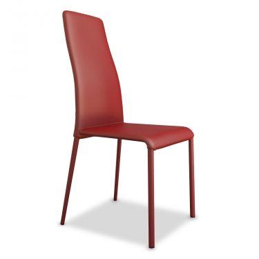 € 99,00 SWING-1H #sedia #moderna da #sala da #pranzo con schienale alto, completamente rivestita in #pelle di colore #rosso, 100% #MadeinItaly in #offerta #prezzo al 50% di #sconto su www.chairsoutlet.com