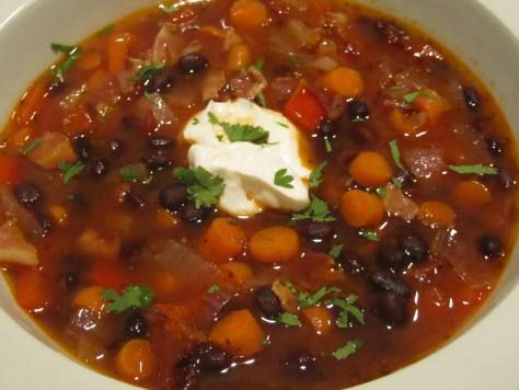BLACK BEAN-BACON-CHIPOTLE SOUP ~ Who doesn't like black beans? Who ...