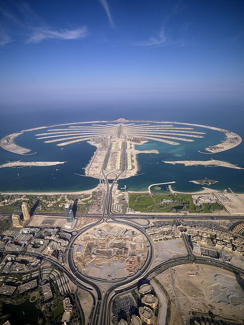 Palm Jumeirah, Dubai. Our family drove around this when it was being built - amazing.