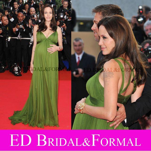 Angelina Jolie Green Dress Mertanity  Evening Dress Pregnan Woman  KungFu Panda Cannes Premier