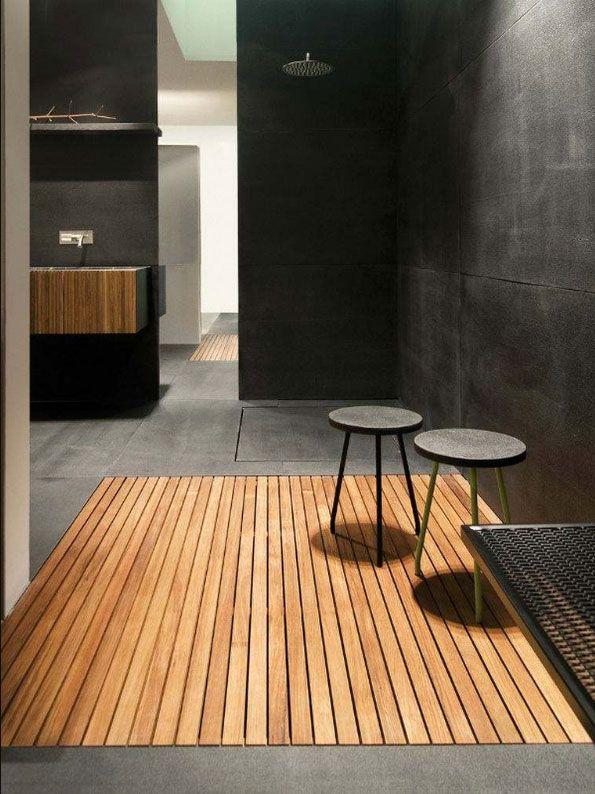 Duschwanne holz teak Design in modern badezimmer grau beton ...
