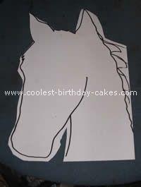 Horse Head Cake Template cakepins.com