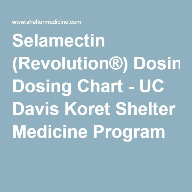 Selamectin Revolution Dosing Chart Uc Davis Koret Shelter Medicine Program Dogs Pinterest Pet Health Pets And Care