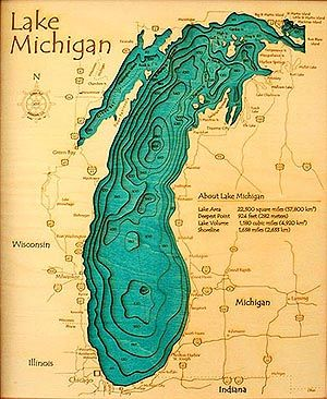 #bathymetry of lake #michigan. Nice, but the shading doesn't work for me - I prefer a northwest light source! #lakemichigan